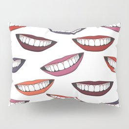 Beautiful female smile with colorful lipsticks Pillow Sham