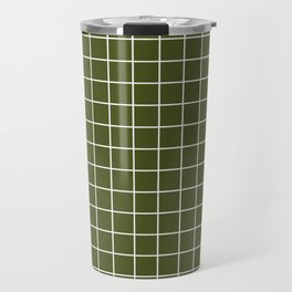 Army green - green color -  White Lines Grid Pattern Travel Mug