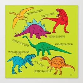 Dinosaur Print - Colors Canvas Print