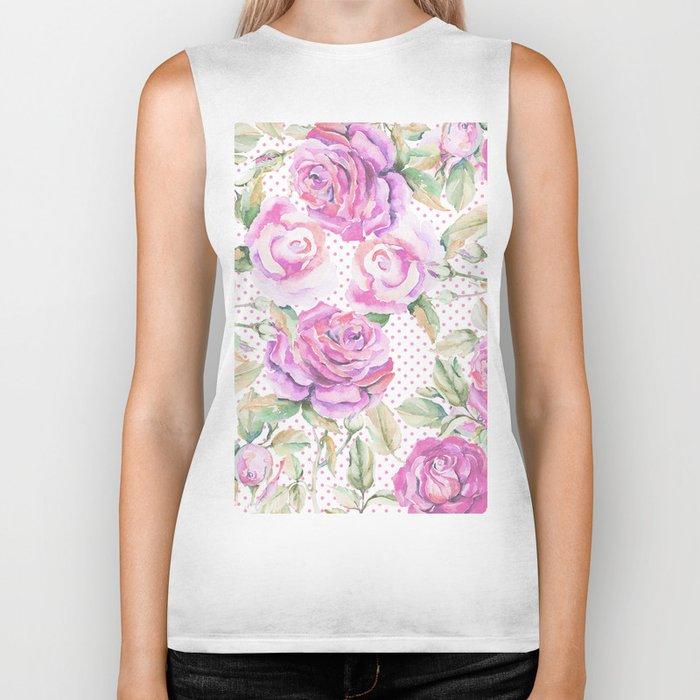 Watercolor hand painted pink lavender roses polka dots Biker Tank