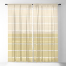Two Tone Stripes - Yellow Sheer Curtain