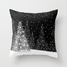 Elegant Black and White Christmas Trees Holiday Pattern Throw Pillow