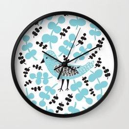 Birdie Bird Blue Wall Clock