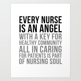 Every Nurse Is An Angel, Nurse Quotes, Nurse Wall Art, Nurse Gifts, Hospital Decor, Clinic Decor Art Print