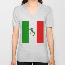 Map of Italy and Italian Flag Unisex V-Neck