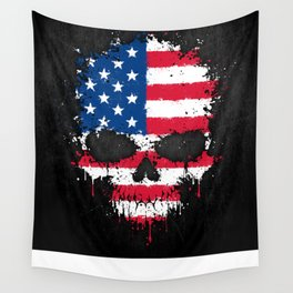 Flag of The United States on a Chaotic Splatter Skull Wall Tapestry