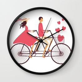 Love Couple riding on the bike Wall Clock