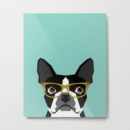 Darby - Boston Terrier pet design with hipster glasses in bold and modern colors for pet lovers Metal Print