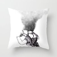 lip Throw Pillows featuring lip girl by 2headedsnake
