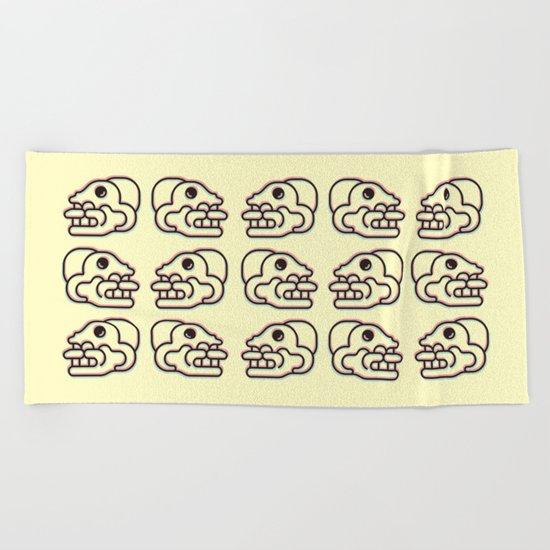 Monkey Skull - Aztec Glyph Beach Towel