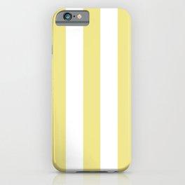 Khaki (X11) (Light khaki) yellow - solid color - white vertical lines pattern iPhone Case