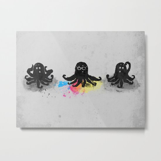 4-color squid Metal Print