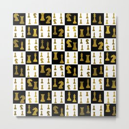 Chessboard and Gold Chess Pieces pattern Metal Print