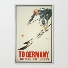 To Germany for Winter Sports - Vintage Skiing Travel Poster Canvas Print