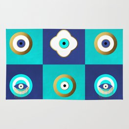 Turquoise and Blue evil eyes Rug