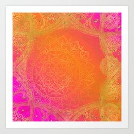 Fuchsia Pink Orange & Gold Indian Mandala Glam Art Print