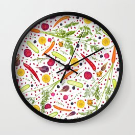 Fruits and vegetables pattern (21) Wall Clock