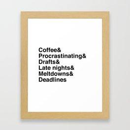 Deadlines Helvetica Framed Art Print