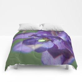 Fluid Nature - Green Jewel In Purple Flower Comforters