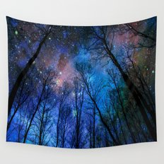 Black Trees Dark Blue Space Wall Tapestry
