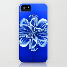 White Bloom on Blue iPhone Case