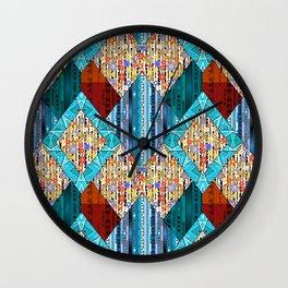 Red blue diamonds patchwork . Wall Clock
