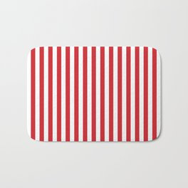 Vertical stripes - red and white Bath Mat
