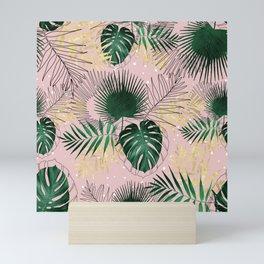 Modern gold tropical leaves and doddles design Mini Art Print
