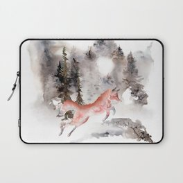 Fox Gamboling In The Mountain Mist Laptop Sleeve