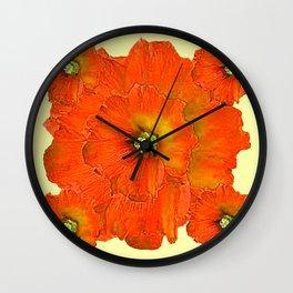 ORANGE DOUBLE  HOLLYHOCK FLOWERS YELLOW GARDEN Wall Clock
