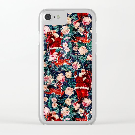 Santa Claus and Floral Pattern Clear iPhone Case