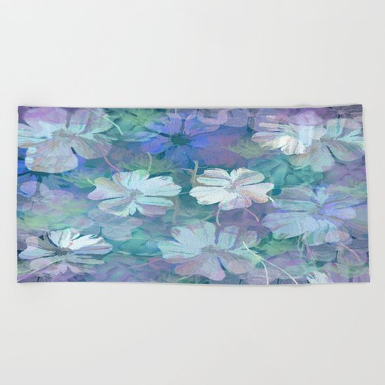 Painterly Midnight Floral Abstract Beach Towel