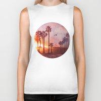 santa monica Biker Tanks featuring Sunset in Santa Monica by Kate Tova