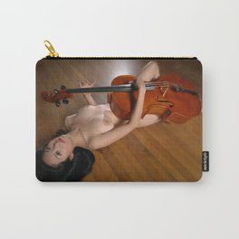 0149-JC Nude Cellist with Her Cello and Bow Naked Young Woman Musician Art Sexy Erotic Sweet Sensual Carry-All Pouch