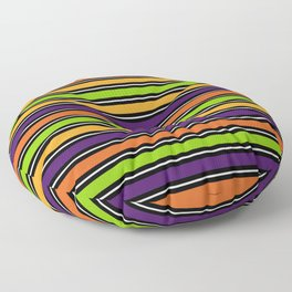 Modern colorful halloween October 31 abstract stripes Floor Pillow