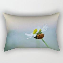 Ladybug on a Chamomile Flower Rectangular Pillow