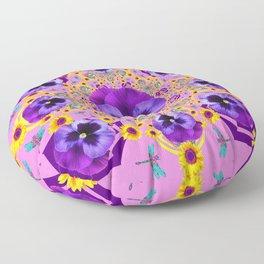 PURPLE PANSIES YELLOW FLOWERS PINK GARDEN Floor Pillow