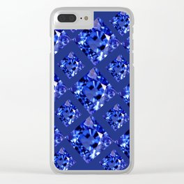 FACETED BLUE ON BLUE SAPPHIRE GEMSTONES Clear iPhone Case