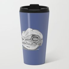 Barn Owl Skull Muted French Blue Metal Travel Mug