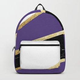 Ultra Violet, White, Black Marble and Gold Stripes Glam #1 #minimal #decor #art #society6 Backpack