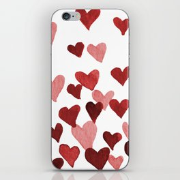 Valentine's Day Watercolor Hearts - red iPhone Skin