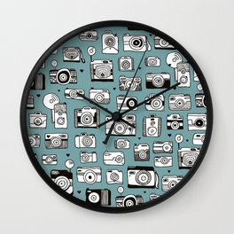Smile action toy camera vintage photography pattern Wall Clock