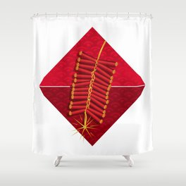Firecrackers Vietnamese Lunar New Year Phao Tet Holiday Shower Curtain