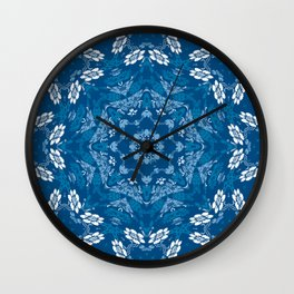 Blue Florals In A Mandala Formation Wall Clock