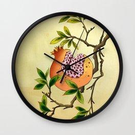 Minhwa: Branch of Pomegranate Wall Clock