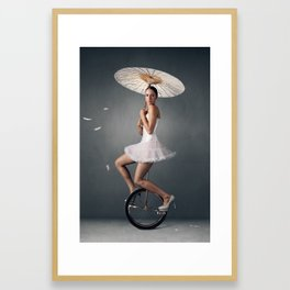 Lady on a unicycle Framed Art Print