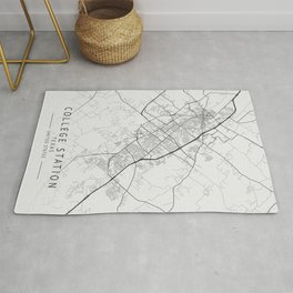 College Station - Texas - US Gray Map Art Rug