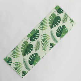 Monstera and palm leaves, green Yoga Mat