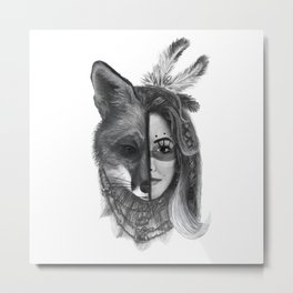 Girl with a fox face Metal Print
