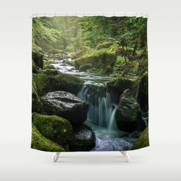 Flowing Creek, Green Mossy Rocks, Forest Nature Photography Shower Curtain